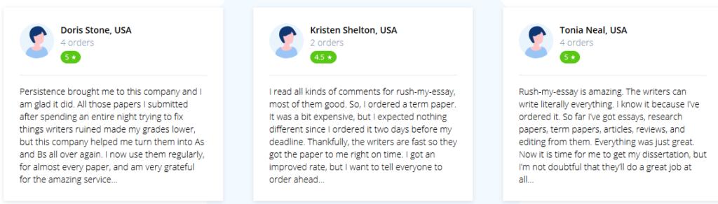 Rush My Essay testimonials